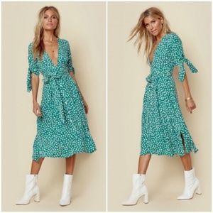 NWT Faithful The Brand Green Nina Midi Dress